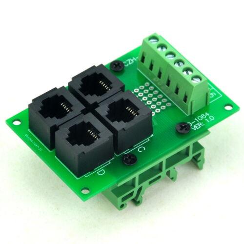 RJ11//RJ12 6P6C 4-Way Buss Board Interface Module with Simple DIN Rail Bracket.x1