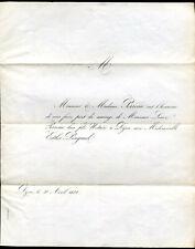 généalogie.Mariage de Mr.Louis Perreau Notaire à Dijon et Me Esther Pingaud.1850