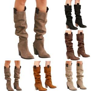 Damen Stiefeletten Flache Schlupf Stiefel Boots Reitschuhe