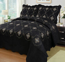 3Pcs Embroidery Quilts Bedspreads Set Bedding Coverlet Set Queen King Size, Emma