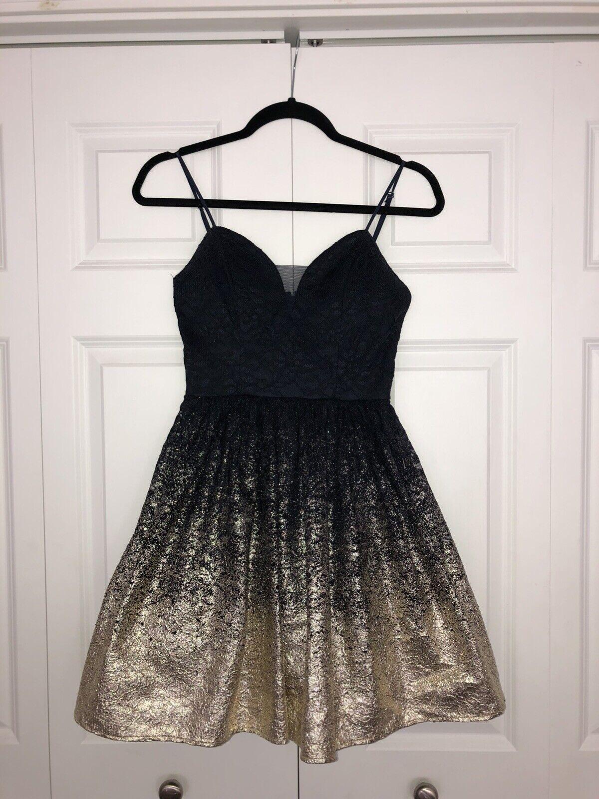 B. DARLIN navy dark blue gold shiny homecoming prom formal short dress