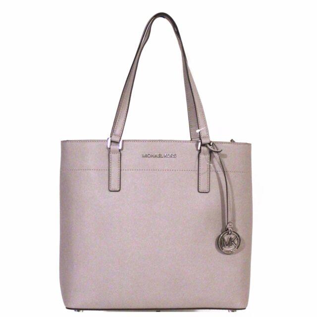Michael Kors Morgan Tote Pearl Grey Purse Leather Large Silver Handbag Nwt 248