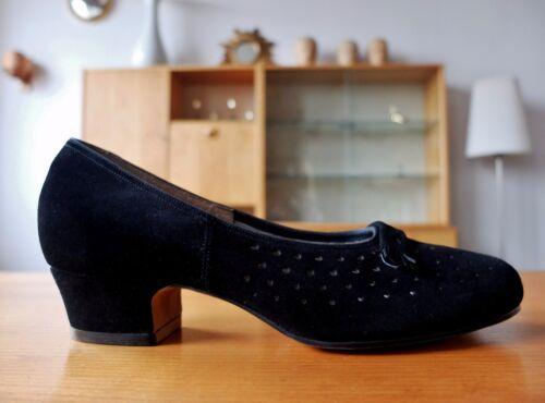 50 antiques de années pour noir de Escarpins des cuir femmes chaussures velours Salamandre TBq5Ax7