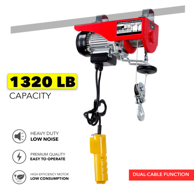 1320LBS Electric Wire Hoist Remote Control Garage Auto Shop Overhead Cable  Lift
