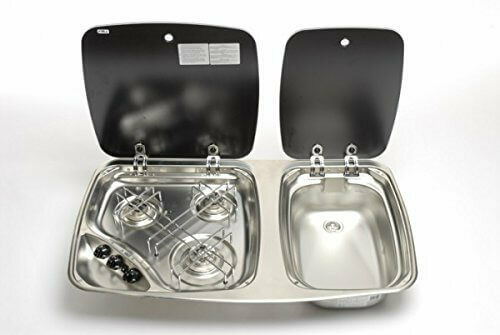 Smev 3 Burner Hob & Sink Combination Unit 2 Glass Lids