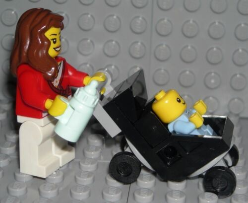 LEGO Mom Baby Stroller Mommy Boy Minifigure Shower Cake Topper Decoration