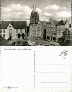 Ansichtskarte-Warendorf-Auto-Parkplatz-am-Markt-mit-Rathaus-1965