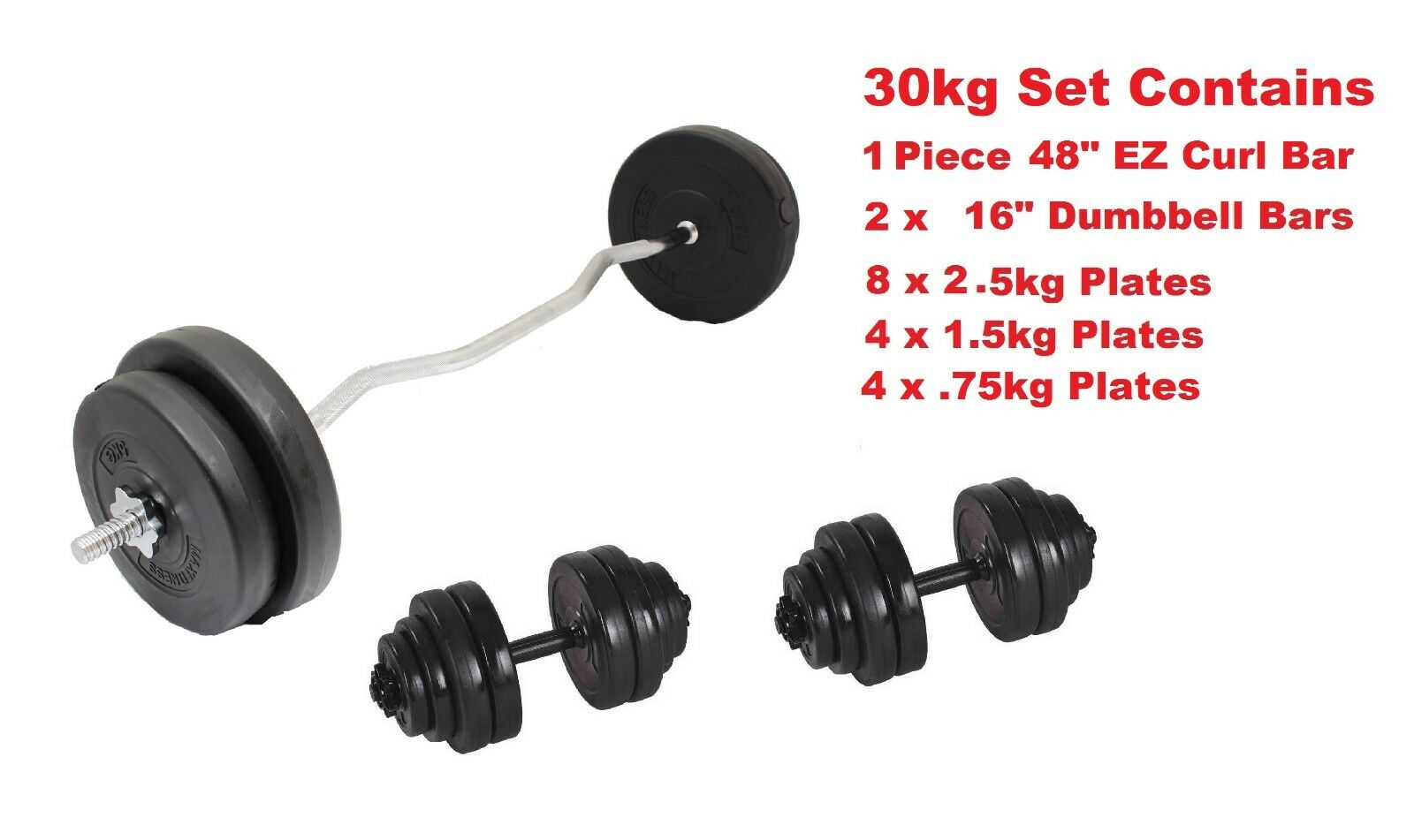 Curl Bar TRICIPITE & bicipite Bar Peso Set 35kg PLUS GRATIS Coppia manubri barre