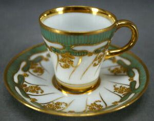 Dresden Richard Klemm Raised Beaded Gold Floral & Green Demitasse Cup & Saucer