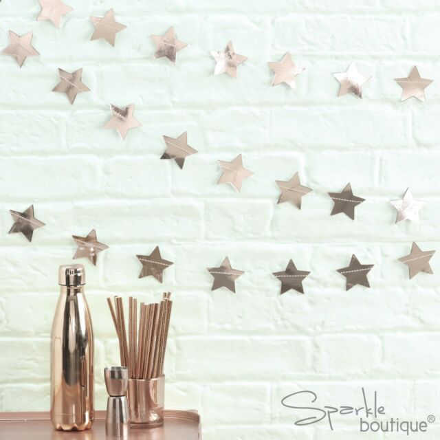 Ginger Ray Rose Gold Star Garland 5 Meters For Christmas Or Year