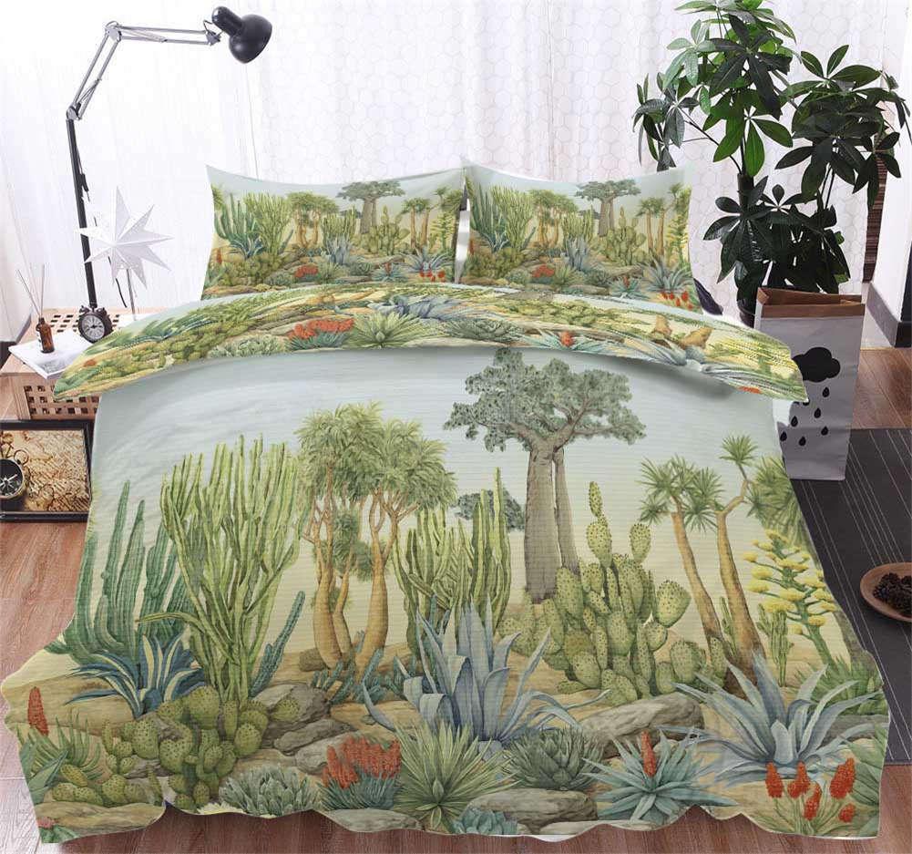 Large Vegetation 3D Druckening Duvet Quilt Will Startseites Pillow Case Bettding Sets