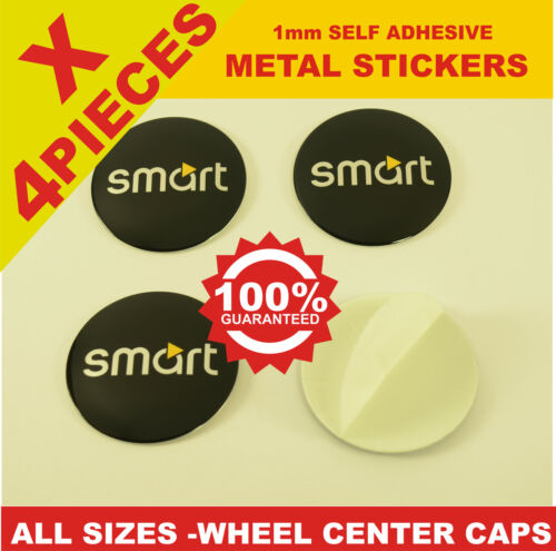 wheel center caps 4x metal STICKERS front rear badge hub emblem cover SMART 2
