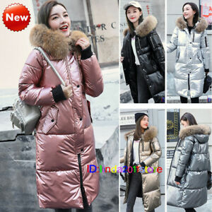 Women-Shiny-Quilted-Down-Coat-Fur-Hooded-Winter-Jacket-Outerwear-Puffer-Parka