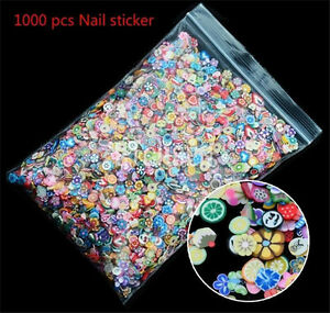 3D-DIY-Cute-Fruit-Animals-Fimo-Slice-Clay-Nail-Art-Tip-Sticker-Decoration-1000pc