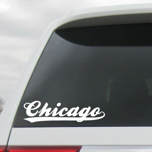 Chicago Decal Sticker Baseball Script with Tail Cubs White Sox Illinois