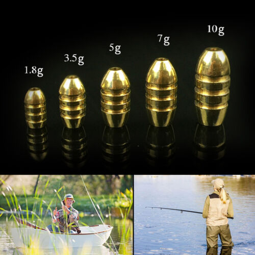 10pcs//lot bullet copper fishing sinkers for soft lure bait additional sinkers PT