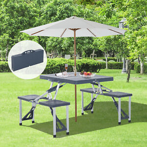 Picnic-Table-4-Seat-Chair-Set-Portable-Foldable-Suitcase-Outdoor-BBQ-Party