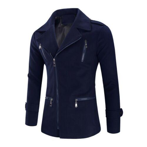 Men/'s Long sleeve Woolen Jacket Peacoat Outwear Slim Fit Lapel Zipper Fall Neu L