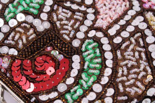 fourre à Dt42 Sac soirée de sequins sac argentées en à bandoulière perles marron tout Nouveau 4YtUYwq