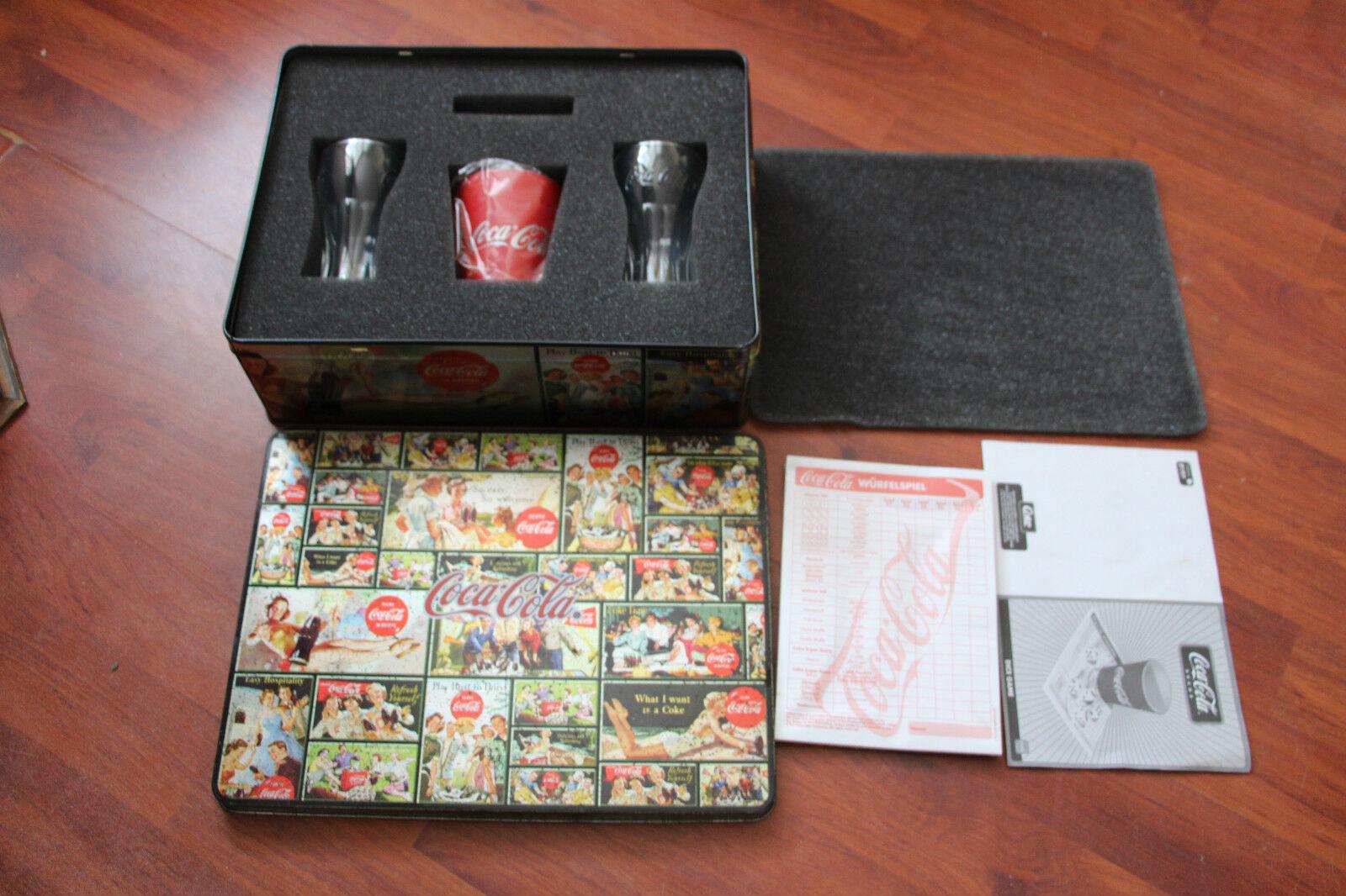 Molto RARO COCA-COLA dadi gioco in scatola di latta da collezione,  GRATIS P&p.