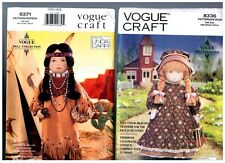 """VOGUE 8336 & 9371 PATTERNS Doll Clothes Native American 18"""" American Girl"""