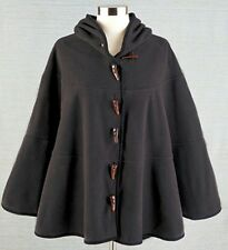 Women's Fleece Hooded Cape Charcoal With 6 Toggles New NWT HL5