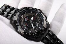 New w/Box Authentic Casio Edifice Black EF-550-D7AV Stainless Steel Wrist Watch