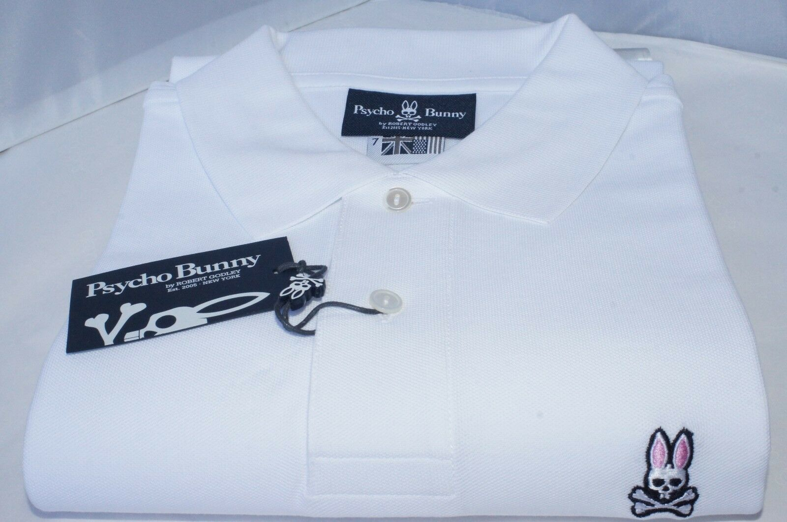 New Psycho Bunny Short Sleeve Classic Polo Shirt Size L White Cotton Sale Gift