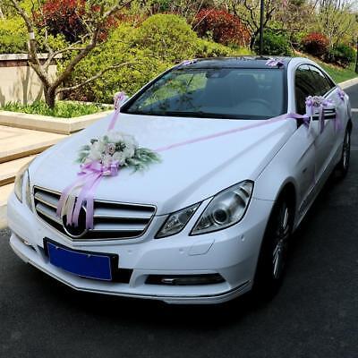 12pcs Wedding Car Decoration Kit Set Rose Peony Flower Ribbon And