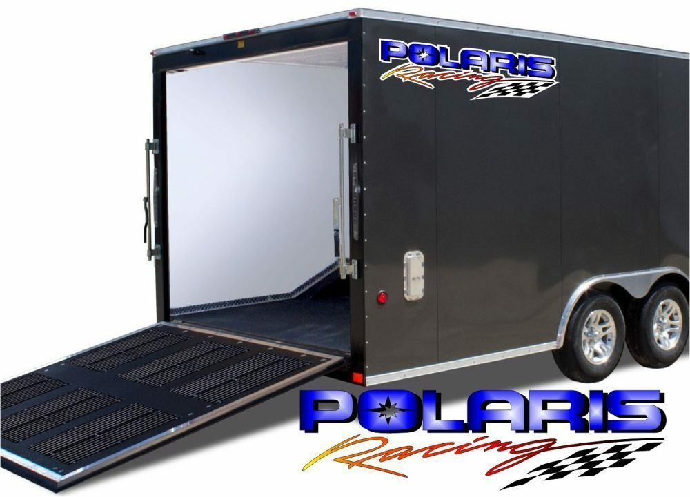 2 Huge POLARIS Racing Decal Graphics  8 x 40  for Snowmobile Sled Trailer  100% authentic