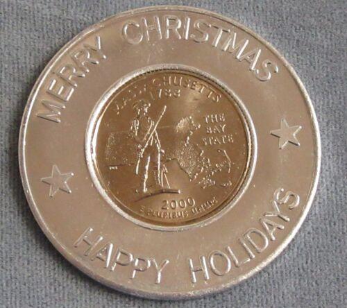 Encased 2000 Massachusetts State Quarter in Merry Christmas Happy Holidays