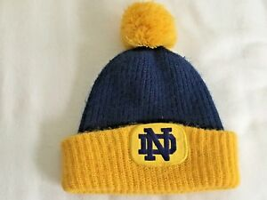 56a73c115a0 Vintage Notre Dame Fighting Irish Knit Acylic Hat Cap Style Pom Pom ...