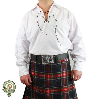 Mens Ghillie Shirt, Jacobean Kilt Shirt, Scottish Jacobite Shirts, White & Black