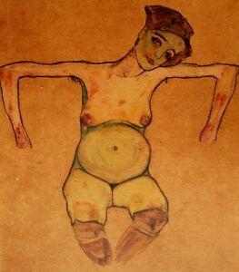 Egon-Schiele-Pregnant-Woman-1910-Hand-Signed-Lithograph
