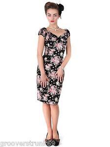 Collectif UK Delores Velvet Floral Wiggle Dress Vintage Pinup up ...