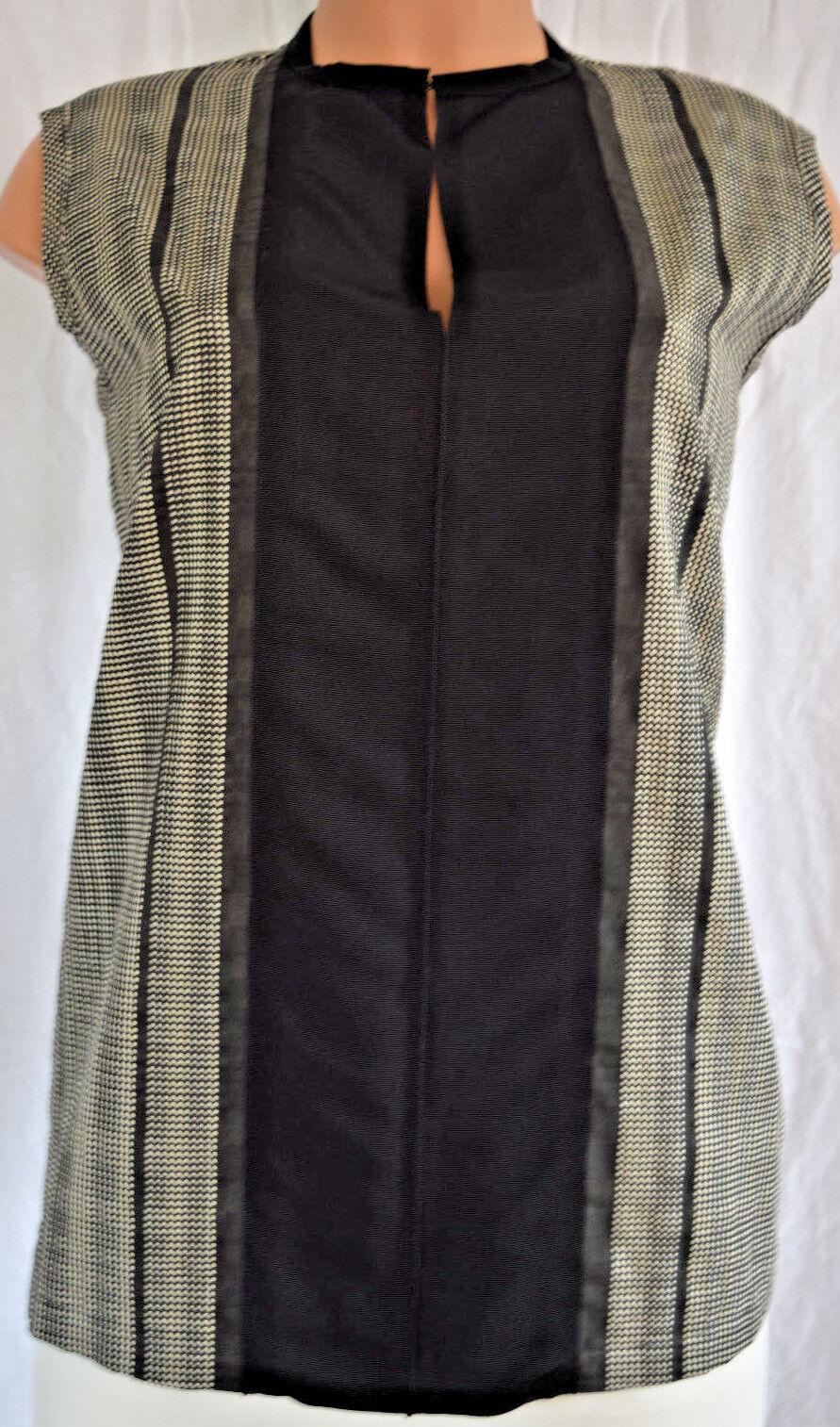 Lanvin schwarz Weiß Mini Checker Farbe Block Print Sleeveless Größe 44