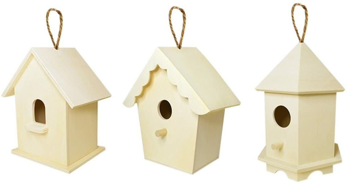 Natural Unfinished Wood Birdhouse with Jute Cord to Hang, Set of 3