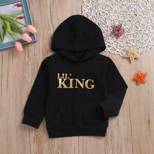 Toodle Kid Baby Boy Girl LIL/' KING Letter Hooded Long Sleeve T-Shirt Tops Outfit