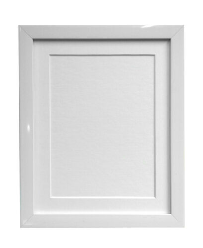 0.75 Inch Gloss White Photo Picture Frames /& White Black Ivory Pink Blue Mounts