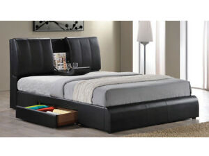 Details about Modern Design Eastern King Size Bed Storage Headboard Black  Pu Bedroom Furniture