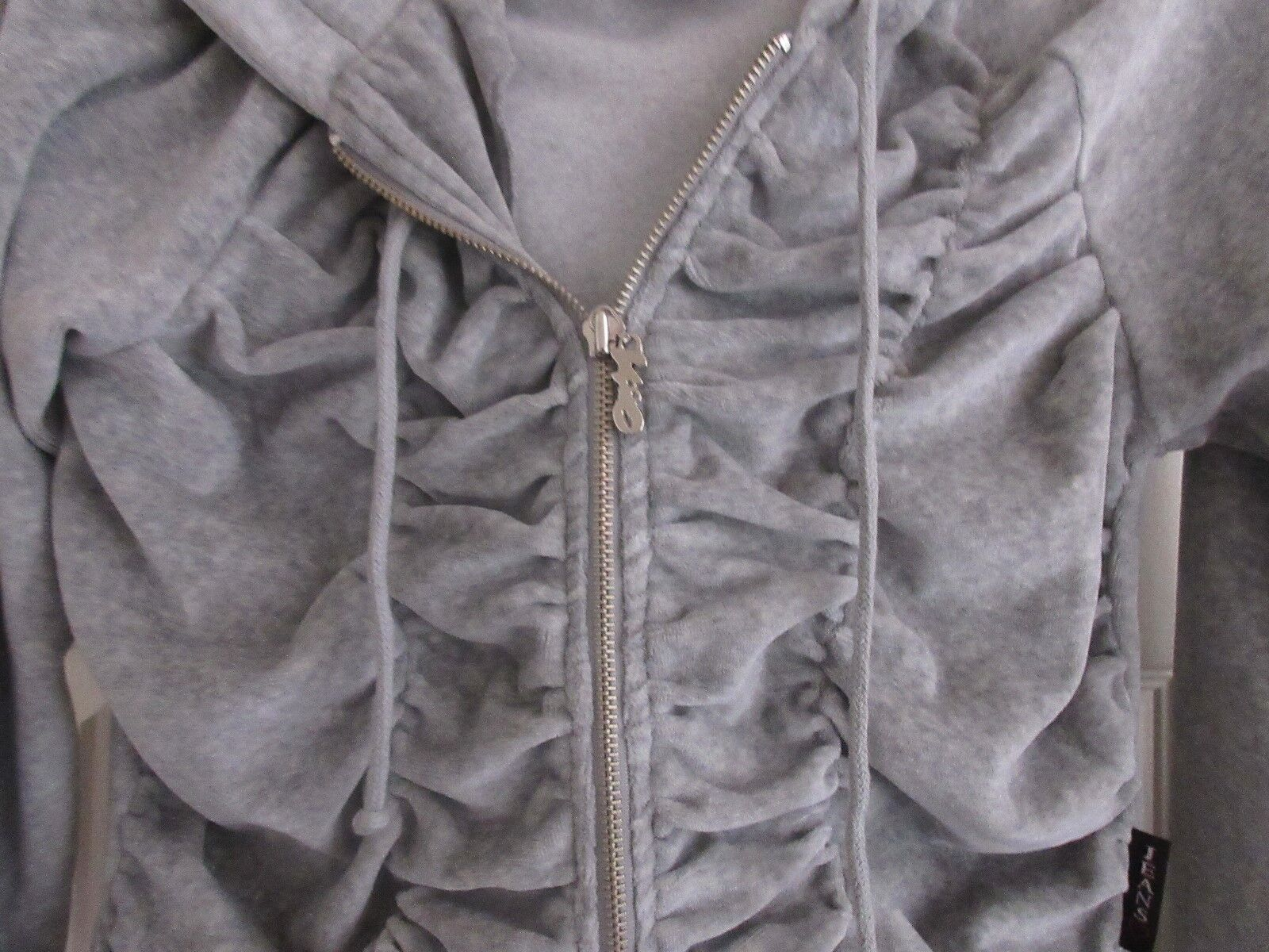 XOXO JEANS , Gray Velour , Gathered Front , Hoodie , Si