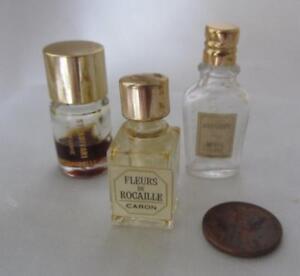 3-Mini-Vintage-Perfume-Bottles-WEIL-Matchabelli-Caron-Just-1-1-2-034-Tall