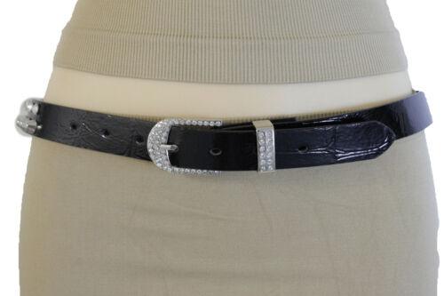 Women Western Skinny Black Belt Silver Metal Studs Rhinestones Buckle S M L XL