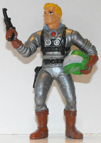 Vintage Superhero Gun Helmet Figurine Figure in Silver Astronaut Suit SHMV305