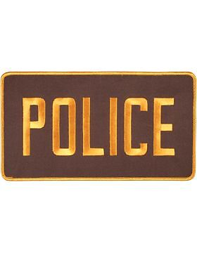 """Police 5/"""" x 9/"""" Patch Gold on Brown U-N116C Novelty"""