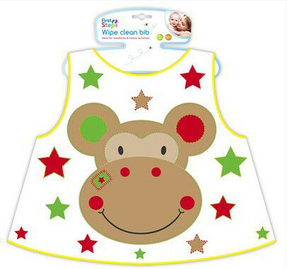 First Steps Wipe Clean Jungle Pals Baby Bib Feeding Mealtime Toddler 6months