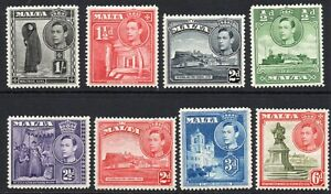 Malta-Part-Set-of-Stamps-c1938-43-Mounted-Mint-1345
