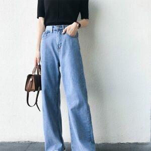 Women-Denim-Jeans-Pants-Long-Trousers-Frayed-Wide-Leg-High-Waist-Vintage-Style