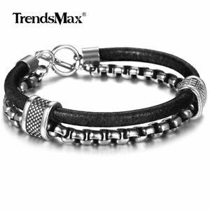 8-26inch-Men-Black-Genuine-Leather-Bracelet-Stainless-Steel-Box-Chain-Sport