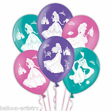 "6 Disney Princess Children's Birthday Party 4-Sided 11"" Printed Latex Balloons"
